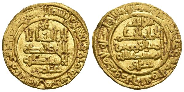 119 - CALIFATO DE CORDOBA. Al-Hakam II. Dinar. 358 H. Madinat Al-Zahra. Citando a ´Amir en la IA y Al-Hayib / ´Ya´far en la IIA. Vives 469. Au. 4,44g. MBC+. - 700€