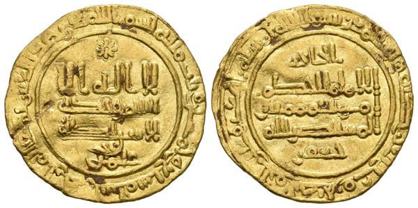 121 - CALIFATO DE CORDOBA. Al-Hakam II. Dinar. 357 H. Madinat Al-Zahra. Citando a ´Amir en la IA y Al-Hayib / ´Ya´far en la IIA. Vives 467. Au. 3,76g. MBC+. - 700€