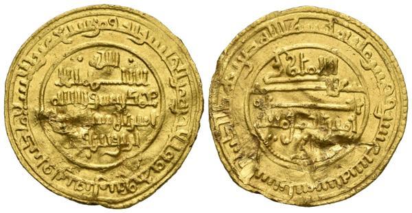 215 - ALMORAVIDES. Alí Ibn Yusuf. Dinar. 516 H. Ishbiliya (Sevilla). Vives 1657; Hazard 213. Au. 3,96g. Golpes. MBC+/MBC. - 520€