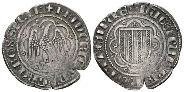 372 - FREDERIC III DE SICILIA. Pirral. (1296-1337). Sicilia. A/ Leyenda: + FRIDICVS / D´I / GRA / REX / SICIE, Leyenda deparada por tres puntos. R/ Leyenda: + DVC ´: APVL´ PRINCIPAT ´: CAPVE. Cru.V.S. 566; Cru.C.G. 2554; Varesi 184. Ar. 2,97g. MBC-.<BR>Ex Aureo & Calicó 259, Colección Ramón Muntaner. Lot 471. 24-04-2014. - 70€