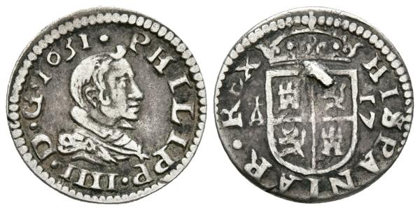 449 - FELIPE IV. 1/2 Real (17 Maravedís). 1631. Segovia. Cal-1210. Ar. 1,29g. Soldadura en reverso. MBC. Rarísima. - 300€
