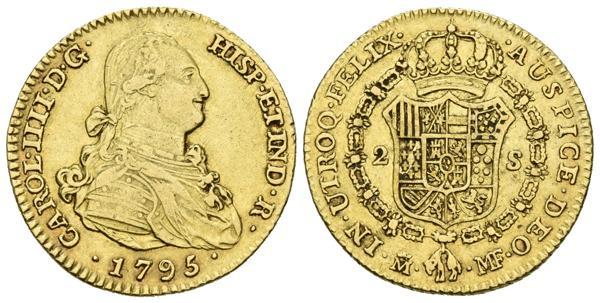518 - CARLOS IV. 2 Escudos. (Au. 6,67g/22mm). 1795. Madrid MF. (Cal-330). MBC. - 200€
