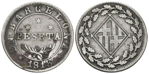 555 - JOSE NAPOLEON. 1 Peseta. (Ar. 5,36g/27mm). 1813. Barcelona. (Cal-50). MBC. - 90€