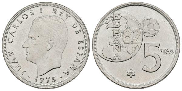 627 - JUAN CARLOS I. 5 Pesetas. (CuNi. 5,69g/23mm). 1975 *80. Madrid. (Cal-124). Error del mundial. EBC+. Escasa. - 100€