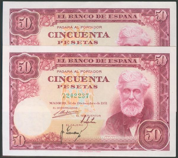 134 - 50 Pesetas. 31 de diciembre de 1951. Pareja correlativa. Sin serie. (Edifil 2017: 462). Apresto original. Inusual. EBC+. - 135€