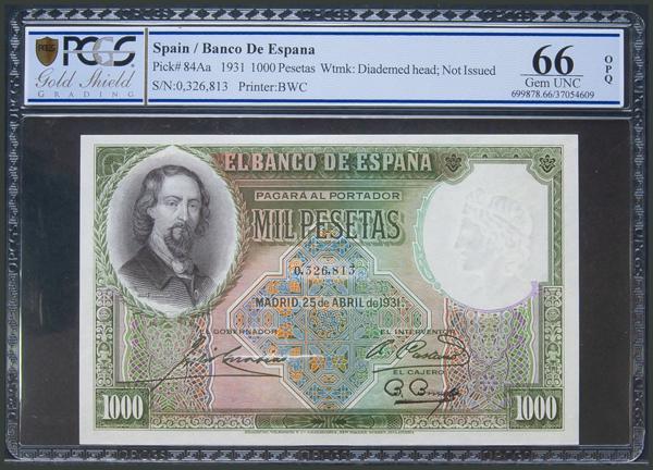 32 - 1000 Pesetas. 25 de Abril de 1931. Sin serie. (Edifil 2017: 362). Apresto original. SC. Encapsulado PCGS66OPQ. - 1,000€