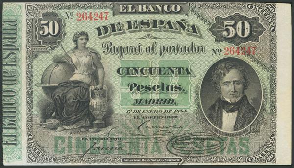 4 - 50 Pesetas. 1 de Enero de 1884. Ligerísima reparación. (Edifil 2017: 283). Conserva parte del apresto original. MBC+. - 1,400€