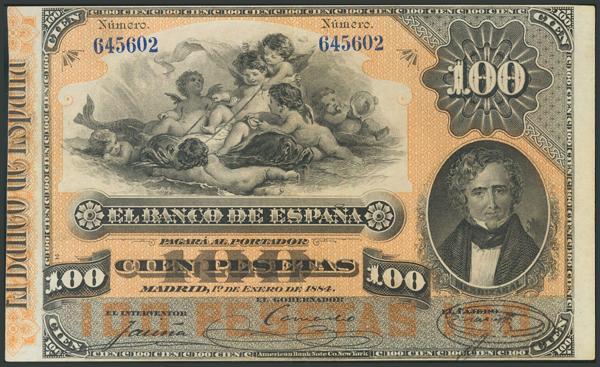 5 - 100 Pesetas. 1 de Enero de 1884. (Edifil 2017: 284). EBC-. - 1,600€