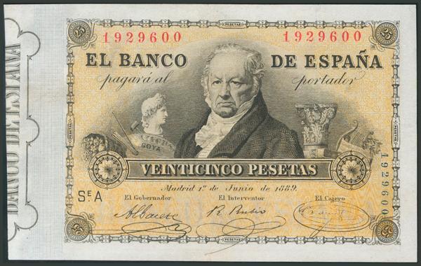 6 - 25 Pesetas. 1 de Junio de 1889. Serie A. (Edifil 2017: 297). Conserva parte del apresto original. EBC-. - 1,600€