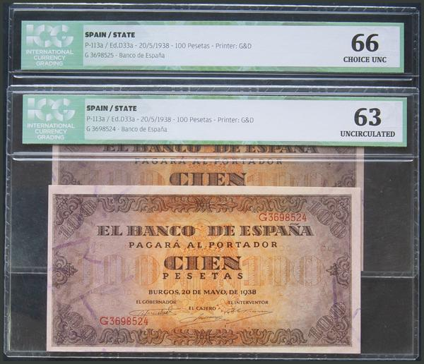 73 - 100 Pesetas. 20 de Mayo de 1938. Pareja correlativa. Serie G. (Edifil 2017: 432a). SC. Encapsulado ICG66/63. - 250€