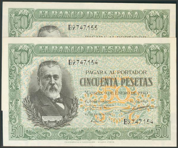 81 - 50 Pesetas. 9 de Enero de 1940. Pareja correlativa. Serie B. (Edifil 2017: 437a). Apresto original. Inusual. EBC. - 200€