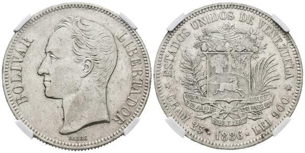 155 - ESTADOS UNIDOS DE VENEZUELA. 5 Bolívares. (Ar. 25,00g/37mm). 1886. Caracas. (Km#Y24.1). Encapsulado NGC AU-53. - 425€