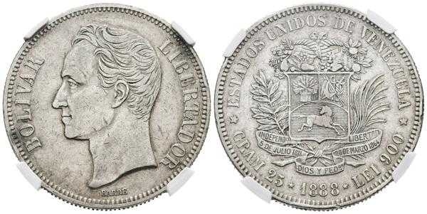 159 - ESTADOS UNIDOS DE VENEZUELA. 5 Bolívares. (Ar. 25g/37mm). 1888. (Km#Y24.1). Variante segundo 8 bajo. Encapsulado NGC AU Details. Rayitas. - 450€
