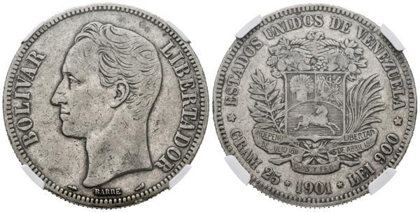 165 - ESTADOS UNIDOS DE VENEZUELA. 5 Bolívares. (Ar. 25,00g/37mm). 1901. Philadelphia. (Km#Y24.2). Encapsulado NGC XF-40. - 300€
