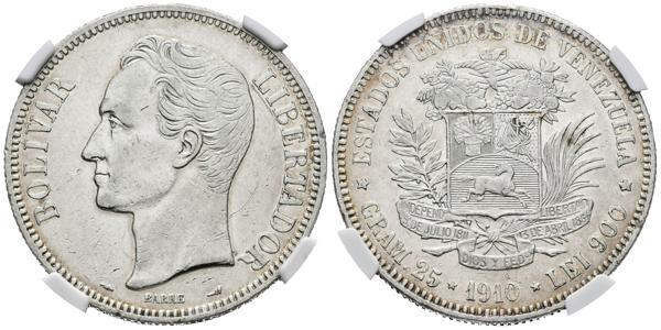 175 - ESTADOS UNIDOS DE VENEZUELA. 5 Bolívares. (Ar. 25g/37mm). 1910. París. (Km#Y24.2). Encapsulado NGC AU Details. Rayas en anverso. - 250€
