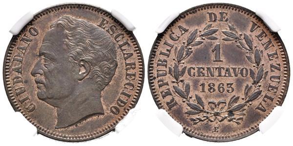 18 - REPÚBLICA DE VENEZUELA. 1 Centavo. (Cu. 6,50g/25mm). 1863. París E. (Km#E1). Prueba. Encapsulado NGC PF-63. Rara y más en esta conservación. - 1,200€