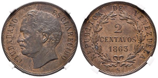 19 - REPÚBLICA DE VENEZUELA. 2 Centavos. (Ae. 9,86g/30,35mm) 1863. París E. (Km#E2). Prueba. Encapsulado NGC PF-62. Rara y más en esta conservación. - 600€