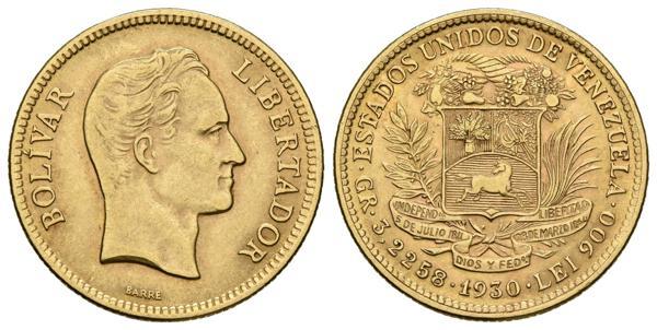 205 - ESTADOS UNIDOS DE VENEZUELA. 10 Bolívares. (Au.3,14g/ 19mm). 1930. Philadelphia. (Km#Y31). Moneda conmemorativa. EBC-. Solo se liberó el 10% de la acuñación total, el saldo restante quedó como parte de la reserva de oro de la nación. - 150€