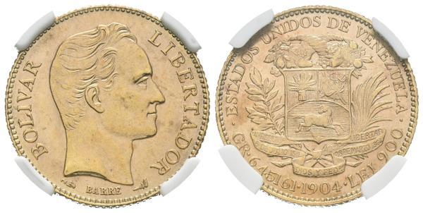 208 - ESTADOS UNIDOS DE VENEZUELA. 20 Bolívares. (Au. 6,45g/21mm). 1904. París. (Km#Y32). Encapsulado NGC MS-61. Tono. - 300€