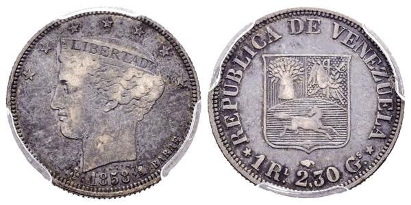 20 - REPÚBLICA DE VENEZUELA. 1 Real. (Ar. 2,30g/18mm). 1858. París A. (Km#Y9). Encapsulado PCGS VF-35. - 500€