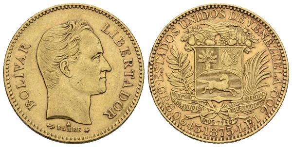 216 - ESTADOS UNIDOS DE VENEZUELA. 25 Bolívares. (Au. 8,06g/22mm). 1875. París. (Km#Y17). MBC+. - 350€