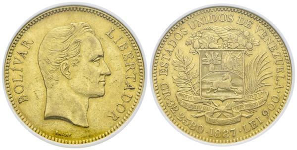 220 - ESTADOS UNIDOS DE VENEZUELA. 100 Bolívares. (Au. 32,26g/34mm). 1887. Caracas. (Km#Y34). Encapsulado NGC AU-55.Tono amarillo verdoso. - 1,300€