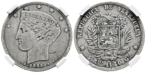 22 - REPÚBLICA DE VENEZUELA. 5 Reales. (Ar. 11,50/30mm). 1858. París A. (Km#Y11). Encapsulado NGC VF-20. - 1,200€