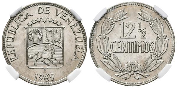 """237 - REPÚBLICA DE VENEZUELA. 12 1/2 Céntimos. (CuNi. 5,00g/23mm). 1969. Madrid. (Km#Y39.2). Variante """"OUTLINED STEM ENDS"""" (extremo del tallo remarcado). Encapsulado NGC MS-66. - 250€"""