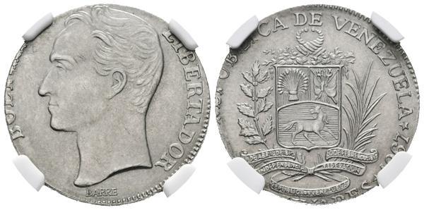 """245 - REPÚBLICA DE VENEZUELA. 2 Bolívares.(Ni. 5,00g/23mm). 1967. Londres. (Km#Y43). """"MINT ERROR"""": Acuñada en módulo de 1 Bolívar. Encapsulado NGC MS-65    - 600€"""