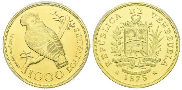 273 - REPÚBLICA DE VENEZUELA. 1000 Bolívares. (Au. 33,44g/34mm). 1975. Londres. (Km#Y48.1). Alas emplumadas. Encapsulado PCGS MS-68. - 1,200€
