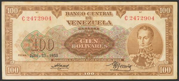 297 - VENEZUELA. 100 Bolívares. 23 de Julio de 1953. Firmado por Aurelio Arreza y González Gorrondona. Serie C. (Pick: 34b, Sleiman: 44). Raro. MBC+. - 100€