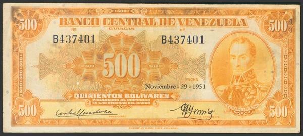 309 - VENEZUELA. 500 Bolívares. 29 de Noviembre de 1951. Firmado por Carlos Mendoza y González Gorrondona. Serie B. (Pick: 37a, Sleiman: 18). Raro, sólo 36.000 billetes fueron emitidos. MBC+.<BR> - 300€
