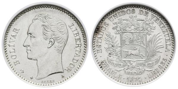34 - ESTADOS UNIDOS DE VENEZUELA. 20 Centavos. (Ar. 5,00g/23mm). 1874. París A. (Km#Y14). Variante A pequeña. Encapsulado NGC AU-55. Ex Colección Gamboa. - 1,000€