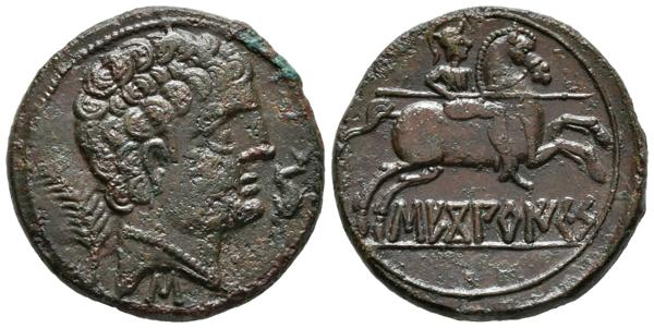 162 - SECOBIRICES (Saelices, Cuenca). As. (Ae. 10,83g/25mm). 120-30 a.C. (FAB-2176). MBC+. Leves erosiones en anverso. - 80€