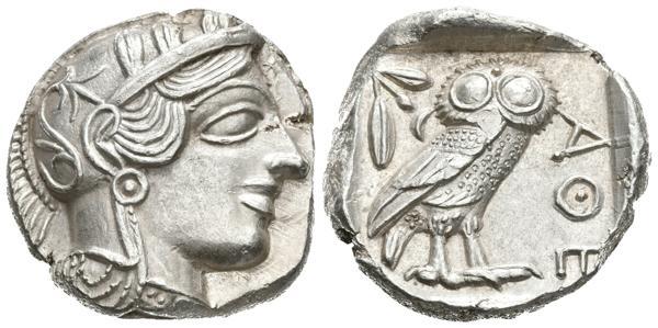 4 - ATICA. Athenas. Tetradracma. 454-404 a.C. (Ar. 17.21g). (Kroll 8; Dewing 1591-8; SNG Copenhagen 31). Magnífico ejemplar. EBC+. - 700€
