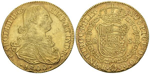 521 - CARLOS IV (1788-1808). 8 Escudos (Au.27.15g/35.8mm) 1800/1799. Santa Fe de Nuevo Reino. (Cal-2019-1734; Cal. Onza 1133). Golpe en el canto. MBC/MBC+. Escasa. - 800€