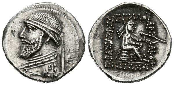 59 - REINO DE PARTIA, Mithradates II. Dracma (Ar. 4,17g/20mm). 123-88 a.C. Ecbatana. (Sear 7367; Cayón 3161). EBC-.  - 70€