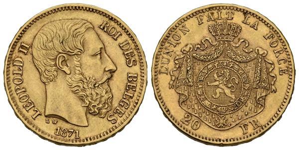 692 - BELGICA. 20 Francos. (Au. 6,43g/21mm). 1871. (Km#35). EBC+. - 200€
