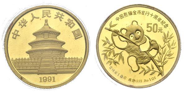 700 - CHINA. 50 Yuans. (Au. 31,07g/27mm). 1991. (Km#357). PROOF. Presentado en encapsulado y blíster oficial. - 1,000€