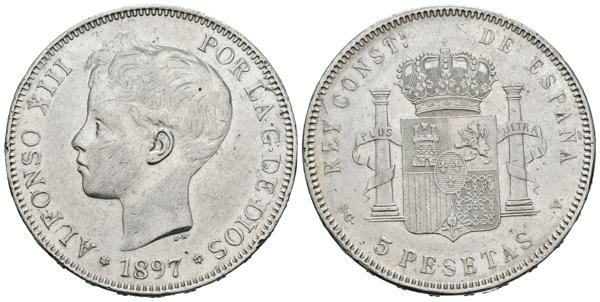 351 - ALFONSO XIII (1885-1931). 5 Pesetas. (Ar.25,00g/37mm). 1897 *18-97. Madrid SGV. (Cal-2019-107). MBC+. Pequeñas marquitas. - 40€