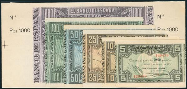 106 - Serie del Bilbao del 1 de Enero de 1937, que incluye los valores de 5 (sin serie), 10, 25, 50, 100 y 1000 Pesetas (este último es el único que presenta matrices a ambos lados, además de tratarse de un billete no emitido). (Edifil 2017: 385b, 387g, 388c, 389a, 390b y NE27c). MBC/EBC. - 75€