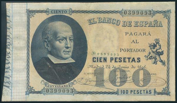 10 - 100 Pesetas. 24 de Junio de 1898. Sin serie. (Edifil 2017: 305). Restaurado. BC+. - 500€