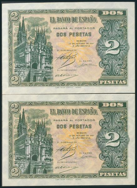 154 - 2 Pesetas. 12 de Octubre de 1937. Pareja correlativa. Serie A. (Edifil 2017: 426). Rara. SC. - 700€