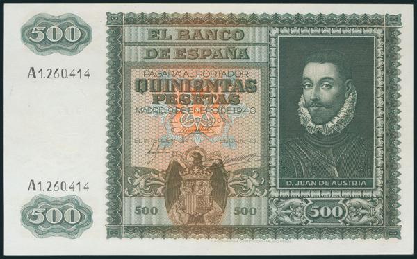 218 - 500 Pesetas. 9 de Enero de 1940. Serie A. (Edifil 2017: 439). Conserva gran parte del apresto original. EBC+. - 300€