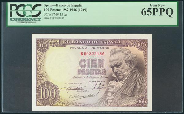 266 - 100 Pesetas. 19 de Febrero de 1946. Serie B. (Edifil 2017: 451b). Encapsulado por PCGS65PPQ. SC. - 100€