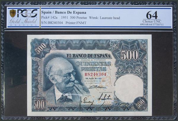 305 - 500 Pesetas. 15 de Noviembre de 1951. Serie B. (Edifil 2017: 460a). Encapsulado PCGS64. SC. - 250€