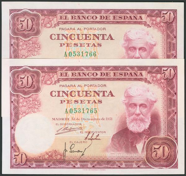 317 - 50 Pesetas. 31 de Diciembre de 1951. Pareja correlativa. Serie A. (Edifil 2017: 462a). Apresto original. SC-. - 90€