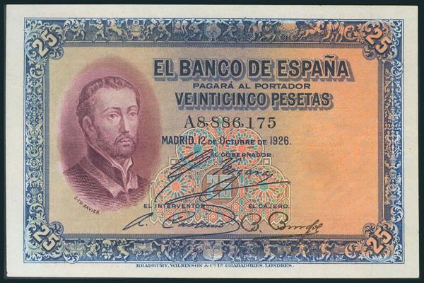 31 - 25 Pesetas. 12 de Octubre de 1926. Serie A. (Edifil 2017: 325a). Apresto original. Raro así. EBC+. - 150€