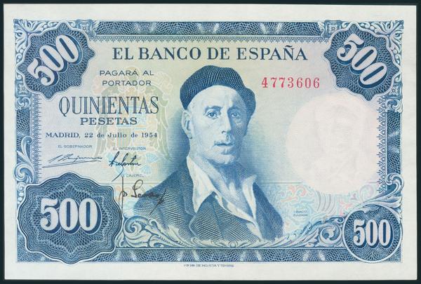 347 - 500 Pesetas. 22 de Julio de 1954. Sin serie. (Edifil 2017: 468). SC-. - 150€