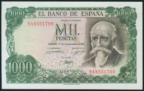 407 - 1000 Pesetas. 17 de Septiembre de 1971. Serie 9A. (Edifil 2017: 474d). Apresto original. SC. - 150€